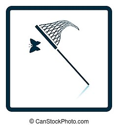 Butterfly net icon. Shadow reflection design. Vector...
