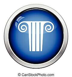 Antique column icon. Glossy button design. Vector...