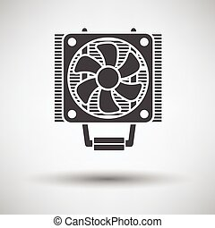 CPU Fan icon on gray background, round shadow Vector...