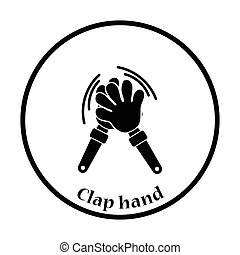 Football fans clap hand toy icon. Thin circle design. Vector...