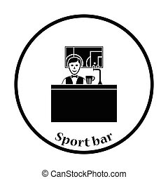 Sport bar stand with barman behind it and football...
