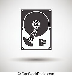 HDD icon on gray background, round shadow. Vector...