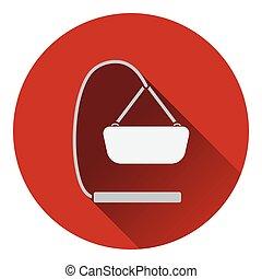 Baby hanged cradle icon Flat color design Vector...