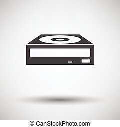 CD-ROM icon on gray background, round shadow. Vector...