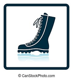 Hiking boot icon Shadow reflection design Vector...