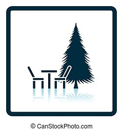 Park seat and pine tree icon Shadow reflection design Vector...
