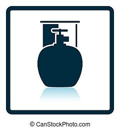 Camping gas container icon Shadow reflection design Vector...