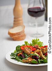 fresh salad with grilled chicken