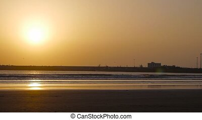 sunset on Essaouira beach