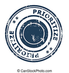 Prioritize business concept rubber stamp isolated on a white...