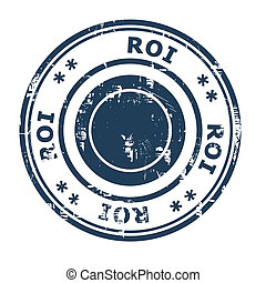 ROI business concept rubber stamp isolated on a white...