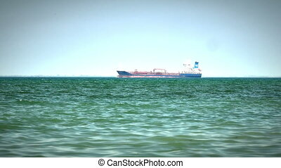 Tanker ship on route to open sea 4k