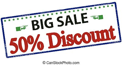 Big sale fifty percent discount - Rubber stamp with text big...