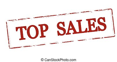 Top sales - Rubber stamp with text top sales inside, vector...