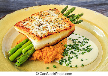 Halibut Filet with Asparagus and Sweet Potatoes - Halibut...
