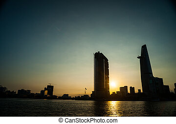 Panorama of Ho Chi Minh viewed over Saigon river....