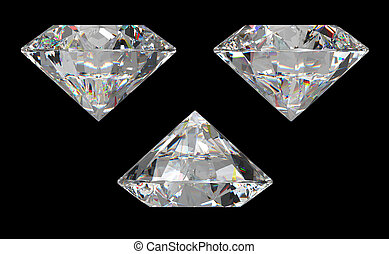 Three different side views of large diamond over black...