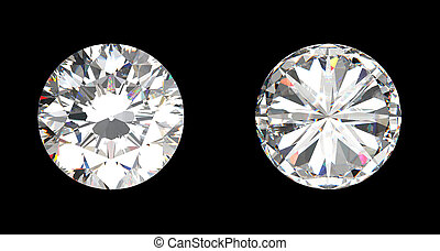 top and bottom view of large diamond over the black...