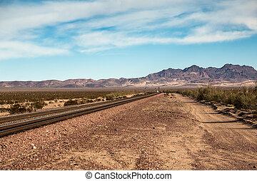 Railroad tracks in the desert