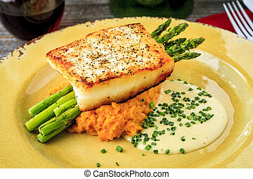 Halibut Filet with Asparagus and Sweet Potatoes - Dinner...