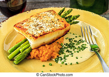 Halibut Filet with Asparagus and Sweet Potatoes - Fresh...