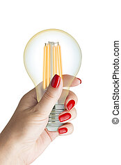 LED filament light bulb in female hand. Isolated on white...