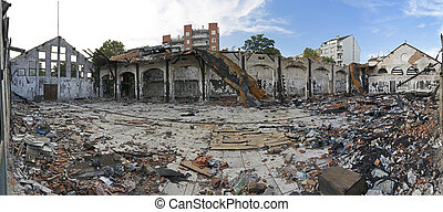 After Fire Panorama - Scattered Debris After Fire in Garment...
