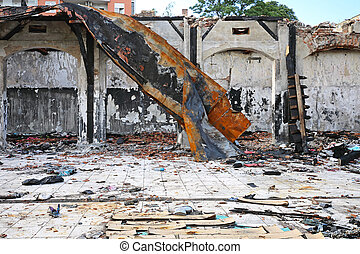 Roof Collapse - Collapsed Roof Structure After Fire Damage