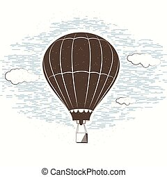 Vector illustration of retro textured journal travel background with balloon, sky, clouds. Vintage template for card, postcard, mark isolated on light backdrop. Print or web design