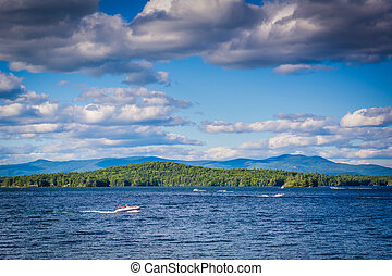 Mountain ranges and Lake Winnipesaukee in Weirs Beach,...