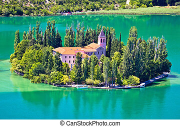 Island of Visovac monastery in Krka national park, Dalmatia,...