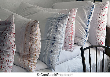 Romanian pillows traditional embroidered Farmhouse interior,...