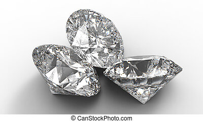 Group of Three large diamonds. Shadows and light background