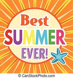 Best summer ever retro poster design template on orange...