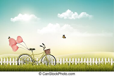 Summer meadow landscape with a bicycle. Vector.