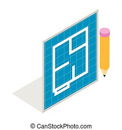 Flat project and pencil icon, isometric 3d style - Flat...