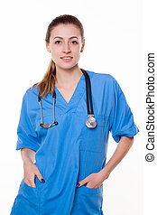 beautiful woman doctor with stethoscope