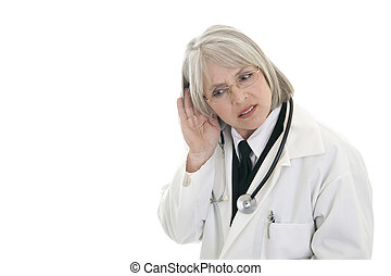 Mature female doctor listening - Female doctor with her hand...