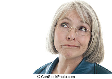 Mature woman making a face - Mature, attractive Caucasian...