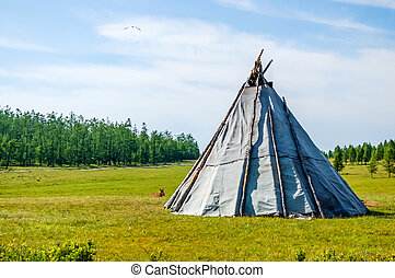 Mongolian teepee in Khovsgol National Park, northern...