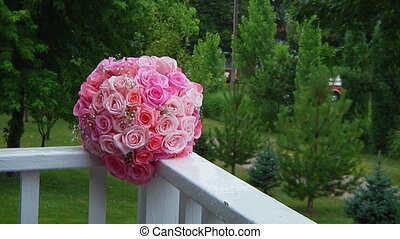 Wedding bouquet of pink roses Wedding bouquet of roses