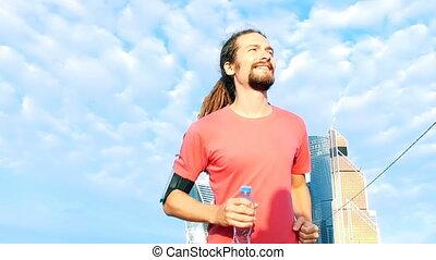 Man running Man running morning in city - Man running...