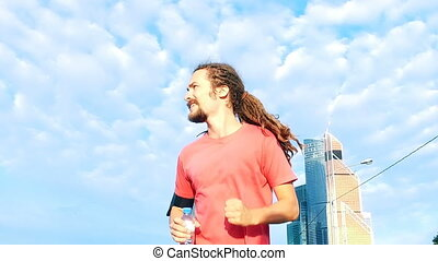 Man running Man running morning in city - Man running...