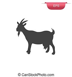 goat, farm animal, icon, vector