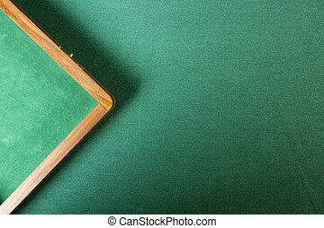 Table with a green cloth - Table with green felt poker chips...