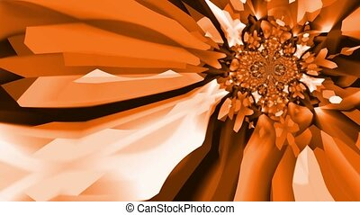 Kaleidoscopic background pattern - Kaleidoscopic orange and...