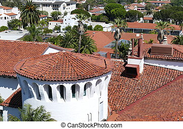 Beautiful aerial landscapes seen from Santa Barbara County Courthouse