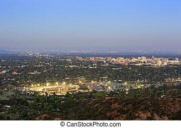 The beautiful Pasadena City hall and Pasadena downtown view...