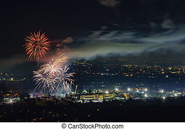 Beautiful fireworks over the famous Rose Bowl