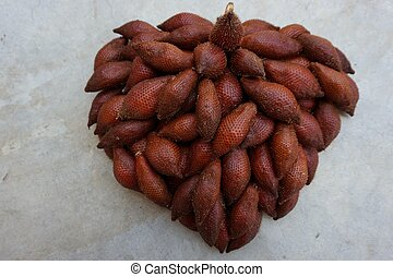 Salacca zalacca fruit in heart shape - set up Salacca...